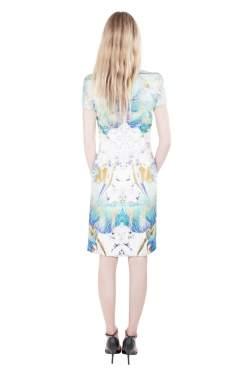 Josh Goot Multicolor Marbled Digital Print Silk Sheath Dress S