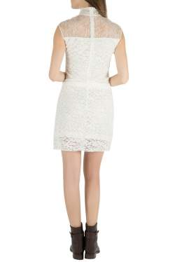 Nina Ricci Ivory Sheer Yoke Lace Turtleneck Dress S
