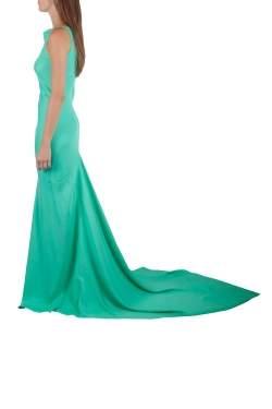 Gareth Pugh Aqua Green Silk Sleeveless Column Gown S