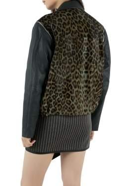 Faith Connexion Khaki and Navy Cheetah Print Detachable Sleeve Detail Moto Jacket XS