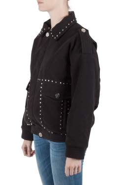 Faith Connexion Black Suede Studded Oversized Bomber Jacket M