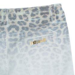 Just Cavalli White Denim Washed Out Leopard Print Skinny Jeans S