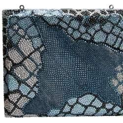 Judith Leiber Multicolor Swarovski Crystal and Textured Leather Minaudiere Box Clutch
