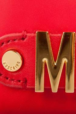 Moschino Red Nylon Logo Embellished Round Clutch