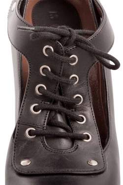 Marni Black Leather Cutout Lace Up Platform Pumps Size 39