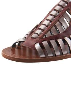 Proenza Schouler Brown Leather Cut Out Ankle Strap Flat Sandals Size 37