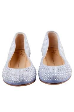 Giuseppe Zanotti Light Blue Suede Crystal Embellished Ballet Flats Size 38
