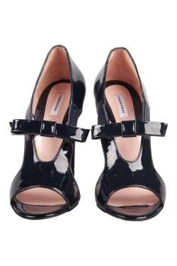 Carven Black Patent Leather Bow Cut-Out Sandals Size 37