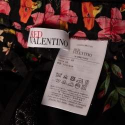 RED Valentino Black Silk Floral Print Palazzo Trousers Size M