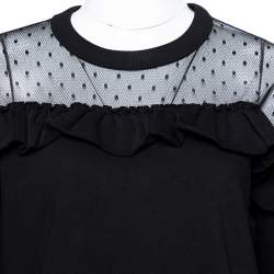 RED Valentino Black Cotton Point D'Esprit Tulle Detail Sweatshirt M