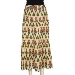 RED Valentino Beige Cotton Ikat Tulips Print Skirt S
