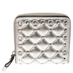 Valentino Metallic Silver Leather Rockstud Spike French Wallet