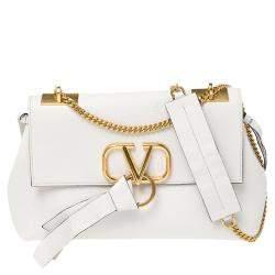 Valentino White Leather Vring Shoulder Bag