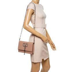 Valentino Rose Canelle Leather Small VCASE With Swarovski Crystals Logo Shoulder Bag