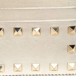 Valentino Gold Leather Rockstud Card Holder