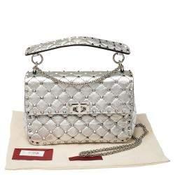 Valentino Silver Quilted Leather Medium Rockstud Spike Shoulder Bag