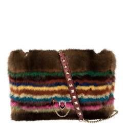 Valentino Multicolor Fur Rockstud Flap Bag