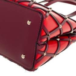 Valentino Garavani Red Leather Beehive Small Studded Tote