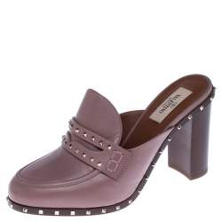 Valentino Pale Pink Leather Rockstud Penny Loafer Mules Size 38