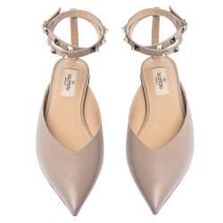 Valentino Poudre Leather Rockstud Ankle Wrap Ballet Flats Size 35