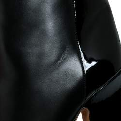 Valentino Black Patent and Leather Mid Calf Boots Size 37.5