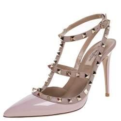 Valentino Rose Pink Patent Leather Rockstud Embellished Pointed Toe Sandals Size 39.5