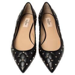 Valentino Black Leather Rockstud Embellished Pointed Toe Ballet Flats Size 37