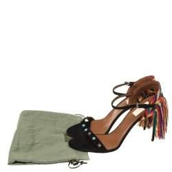 Valentino Black Suede Rockstud Rolling Multicolor Fringe Sandals Size 41