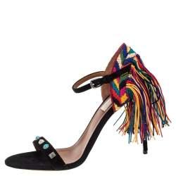 Valentino Black Suede Rockstud Rolling Multicolor Fringe Sandals Size 37