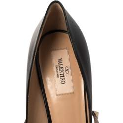 Valentino Black/Beige Leather Rockstud Ankle Wrap Pointed Toe Pumps Size 40.5