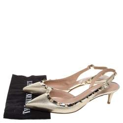Valentino Metallic Gold Leather Rockstud D'orsay Pointed Toe Slingback Sandals Size 37.5