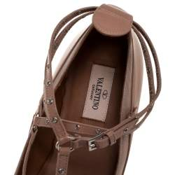 Valentino Beige Leather love latch Grommet Caged Ballet Flats Size 41