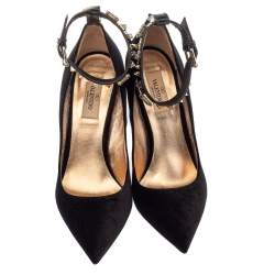 Valentino Black Suede Crystal and Stud Embellished Ankle Cuff Pointed Toe Pumps Size 38