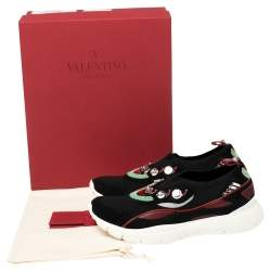 Valentino Multicolor Stretch Knit and Leather Embellished Sock Trainers Size 38