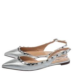 Valentino Silver Leather Rockstud Flat Slingback Sandals Size 38