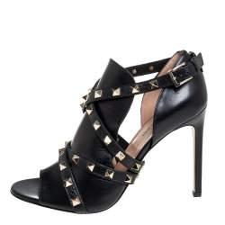 Valentino Black Leather Rockstud Ankle Wrap Sandals Size 37.5