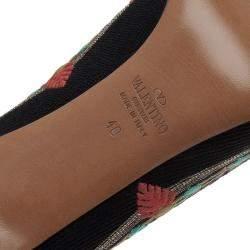 Valentino Black Canvas Kilim Embroidered Pumps Size 40