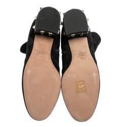 Valentino Black Suede Rockstud Trim Heel Ankle Boots Size 38