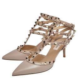 Valentino Beige Leather Rockstud Pointed Toe Sandals Size 38