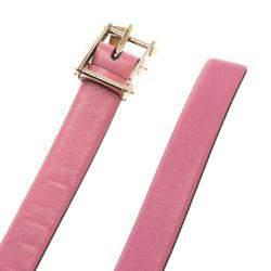 Valentino Pink Leather Rockstud Buckle Belt 70cm