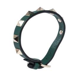 Valentino Green Leather Pale Gold Tone Rockstud Bracelet
