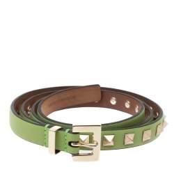 Valentino Light Green Leather Rockstud Buckle Slim Belt 90CM