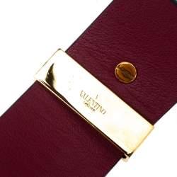 Valentino Burgundy Leather Rockstud Wide Bracelet