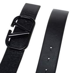 حزام فالنتينو شعار الماركة حرف ڨي جلد مزخرف أسود مقاس 80 سم