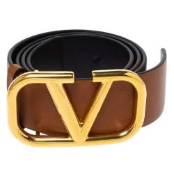 Valentino Brown Leather V Logo Belt Size 80 CM