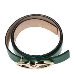 Valentino Green Leather V Logo Buckle Belt 80CM