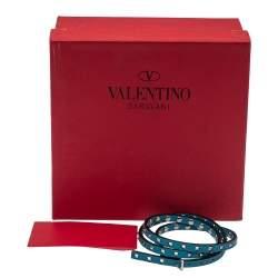 Valentino Blue Leather Mini Rockstud Gunmetal Tone Triple Wrap Bracelet