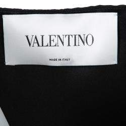 Valentino Black Plunged Neck Bow Detail Sleeveless Dress M