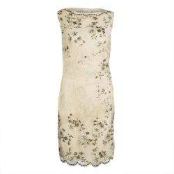 Valentino Beige Embellished Floral Lace Overlay Ruched Sleeveless Dress M