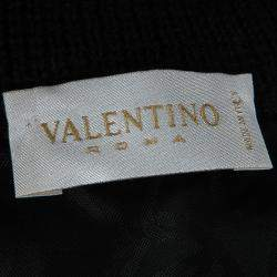 Valentino Black Wool Pleated Bottom Hem Detail Long Sleeve Dress L